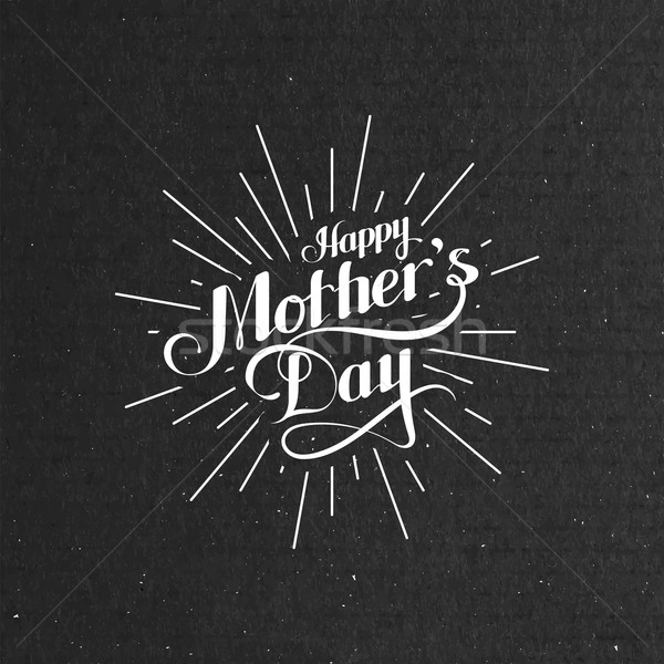 Happy Mothers Day retro label with light rays Stock photo © maximmmmum