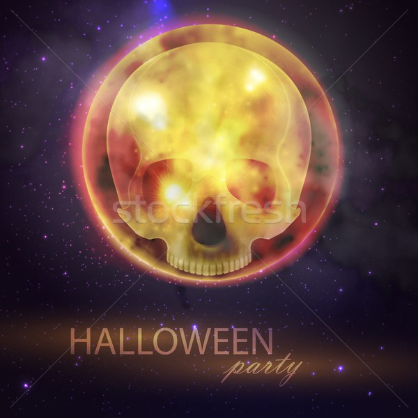 Halloween vector illustration with full moon and skull on the night sky background. party flyer desi Stock photo © maximmmmum
