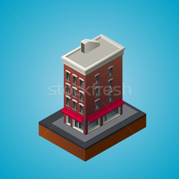 Isometric 3d residential building. Stock photo © maximmmmum