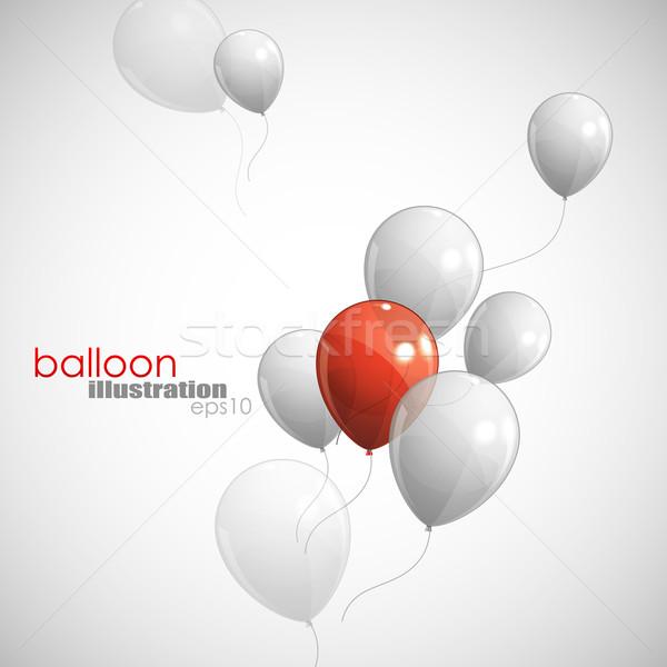 Balões feliz projeto fundo vermelho marketing Foto stock © maximmmmum