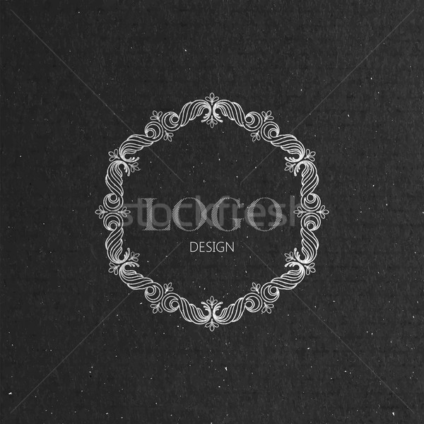 vector illustration with floral frame on cardboard texture. graceful line art logo design element Stock photo © maximmmmum