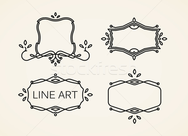 Vetor conjunto floral monograma quadros linha Foto stock © maximmmmum