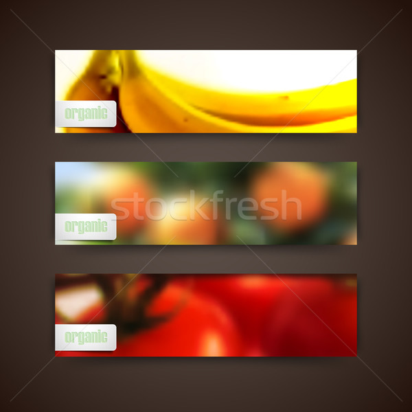 Set of banners with blurred background of orange grove, bananas, tomatoes and organic food labels, v Stock photo © maximmmmum