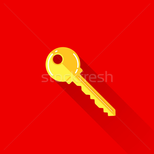 vintage illustration of a key in flat style with long shadow  Stock photo © maximmmmum