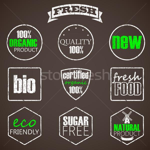 Bioélelmiszer címkék absztrakt terv háttér keret Stock fotó © maximmmmum