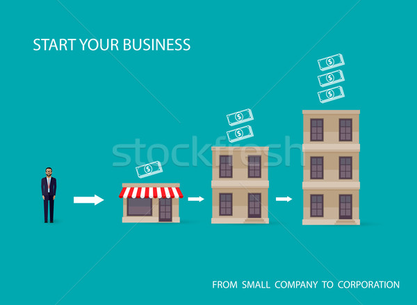 vector flat illustration of an infographic business concept. businessman starts his own business. st Stock photo © maximmmmum