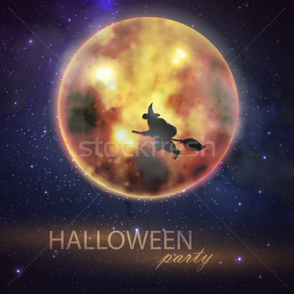 Halloween vector illustration with full moon and witch on the night sky background. party flyer desi Stock photo © maximmmmum