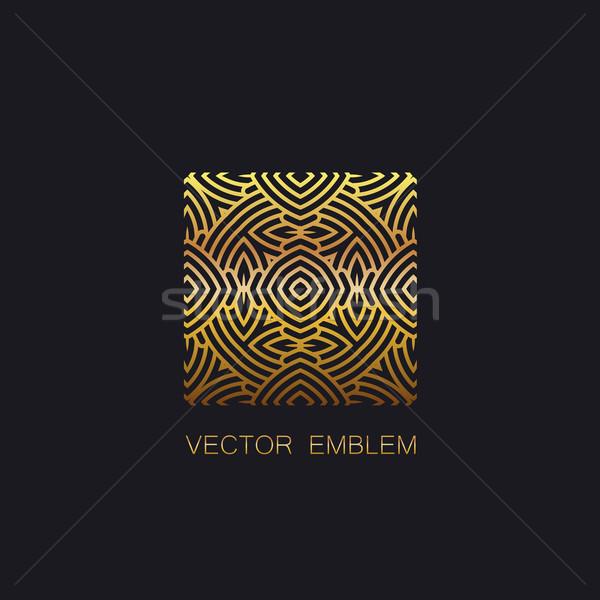 Gouden embleem vector monogram teken Stockfoto © maximmmmum