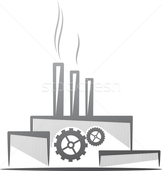 symbolic illustration with a factory. Industry concept Stock photo © maximmmmum