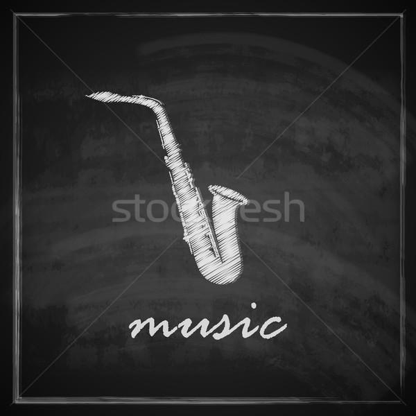 Vintage ilustracja saksofon tablicy muzyki świetle Zdjęcia stock © maximmmmum
