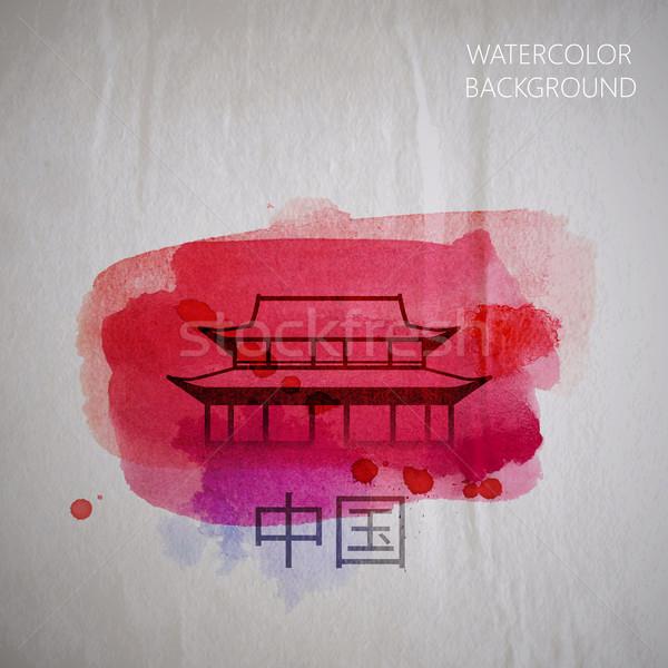 вектора акварель иллюстрация аннотация китайский здании Сток-фото © maximmmmum