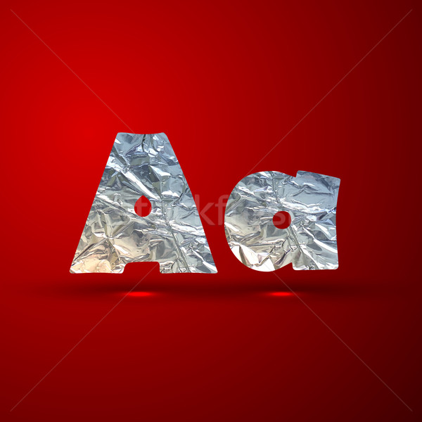 vector set of aluminum or silver foil letters. Letter A Stock photo © maximmmmum