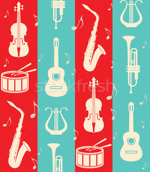 seamless vintage background with music instruments  Stock photo © maximmmmum