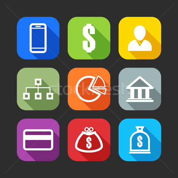 flat icons for web and mobile applications (flat design with long shadows)  Stock photo © maximmmmum