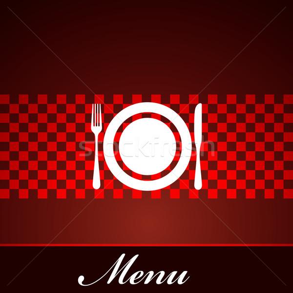restaurant menu design with plate, fork and knife Stock photo © maximmmmum