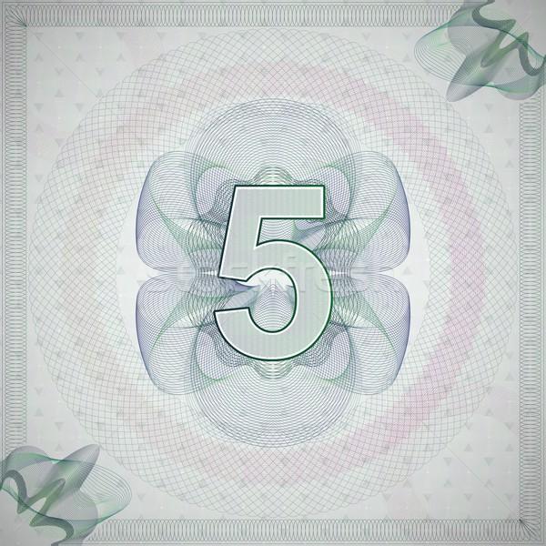 Szám öt díszes stílus monetáris bankjegy Stock fotó © maximmmmum