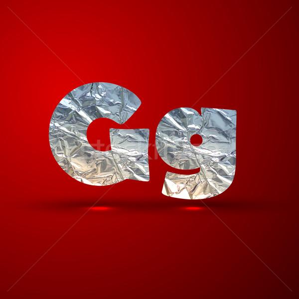 vector set of aluminum or silver foil letters. Letter G Stock photo © maximmmmum