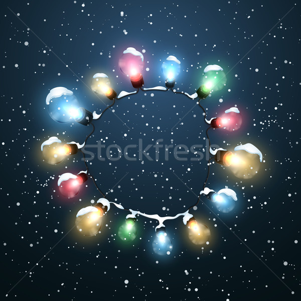 Glowing Lights. Vector Holiday Illustration of Luminous Electric  Wreath Stock photo © maximmmmum