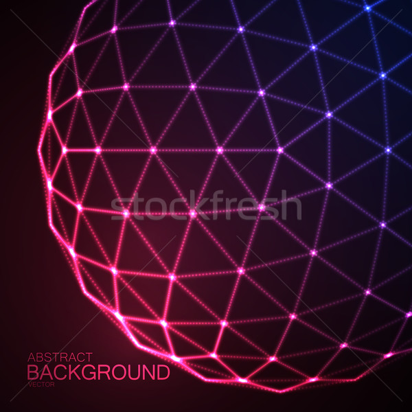 3D illuminated sphere of glowing particles Stock photo © maximmmmum