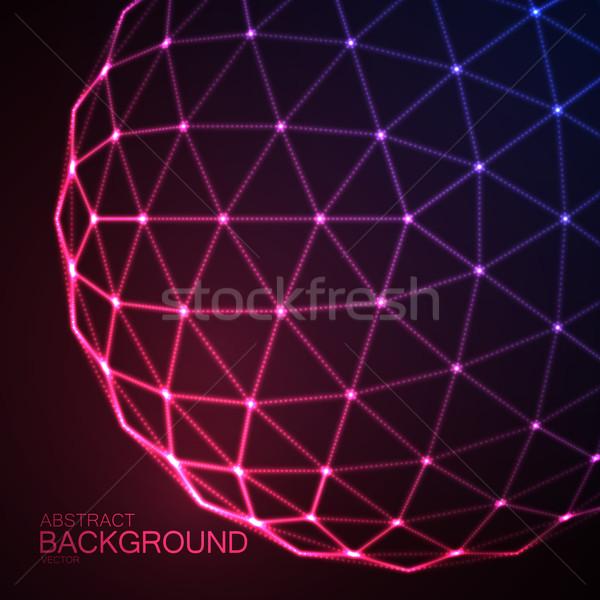 Сток-фото: 3D · сфере · частицы · неоновых