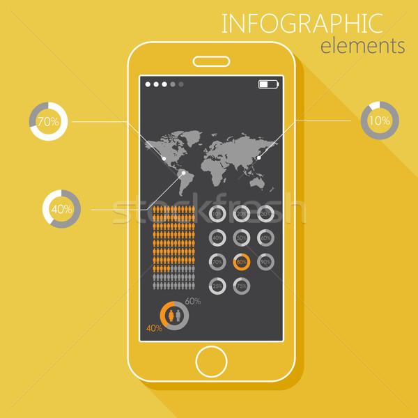 Illustration with a mobile phone. Set of infographic elements in flat style with the world map, gend Stock photo © maximmmmum