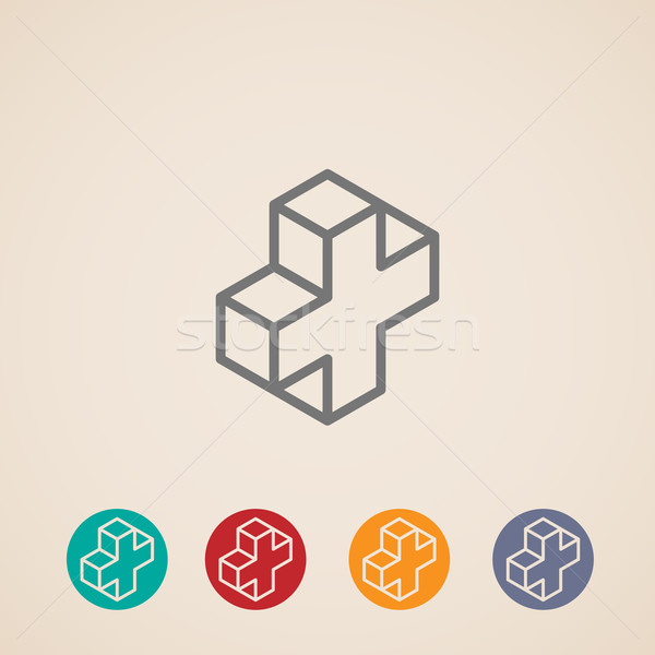 isometric icons with addition sign  Stock photo © maximmmmum