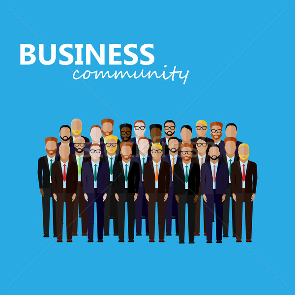 vector flat  illustration of business or politics community. a large group of men (business men or p Stock photo © maximmmmum