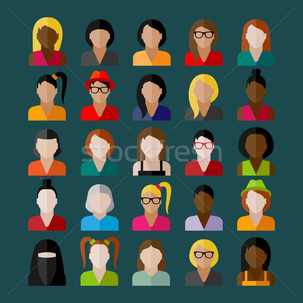 women appearance icons. people flat icons collection Stock photo © maximmmmum