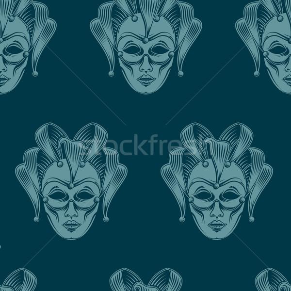 ベクトル 彫刻 ベニスの カーニバル マスク エンブレム ストックフォト © maximmmmum