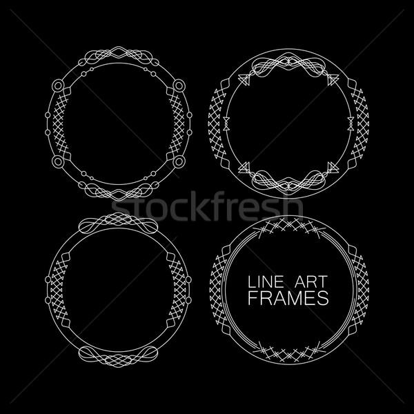 Foto stock: Vector · establecer · floral · monograma · marcos · línea