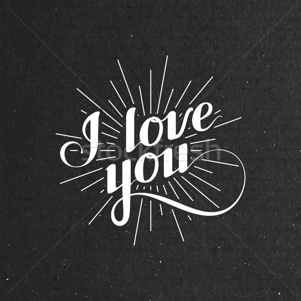 vector typographic illustration of handwritten I love you retro label. lettering composition on the  Stock photo © maximmmmum