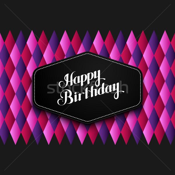 Stock fotó: Illusztráció · boldog · születésnapot · embléma · kockás · vektor · tipográfiai