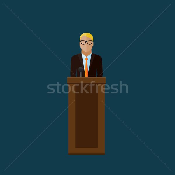 Illustratie spreker politicus verkiezing vector persconferentie Stockfoto © maximmmmum