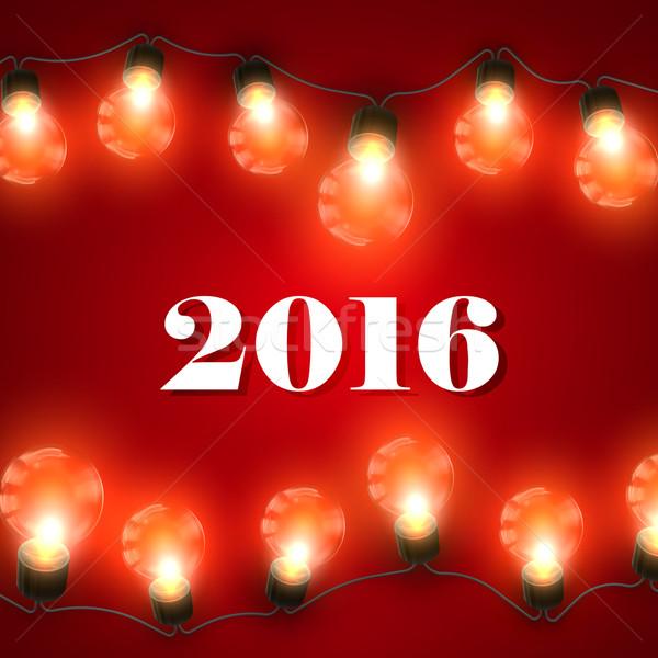 Heureux nouvelle 2016 année Noël lumières Photo stock © maximmmmum
