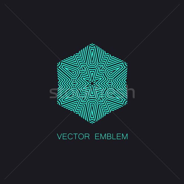 art-deco turquoise emblem Stock photo © maximmmmum