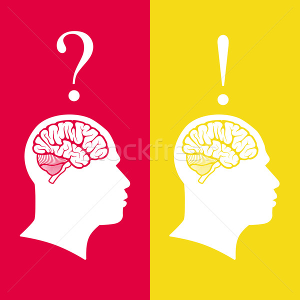 vector illustration of human heads with brain. problem and solution concept  Stock photo © maximmmmum
