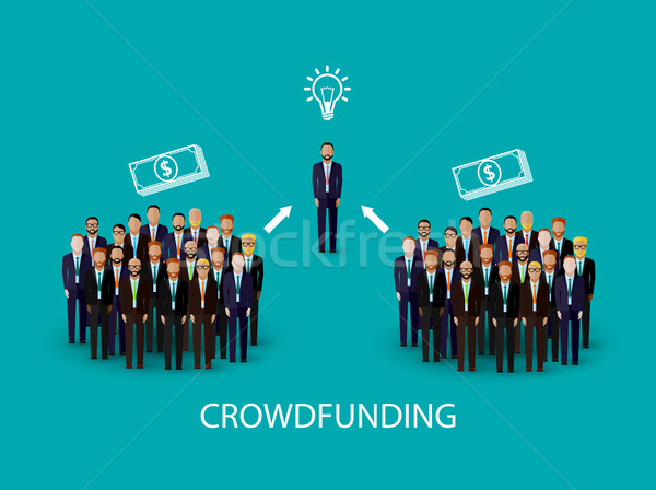 vector flat illustration of an infographic crowdfunding concept. a group of business men wearing sui Stock photo © maximmmmum