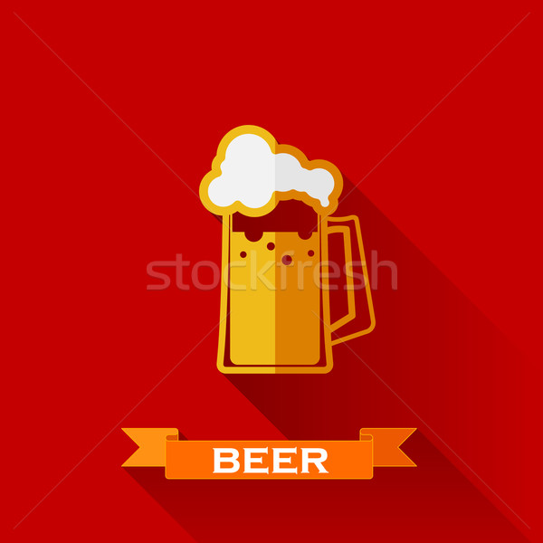 vector illustration with beer pint icon in flat design style with long shadows Stock photo © maximmmmum