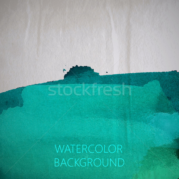 vector illustration of turquoise watercolor stain or blotch on t Stock photo © maximmmmum