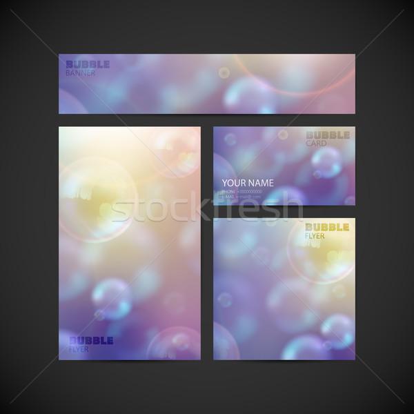 Сток-фото: набор · вектора · корпоративного · личности · Flying · мыльные · пузыри