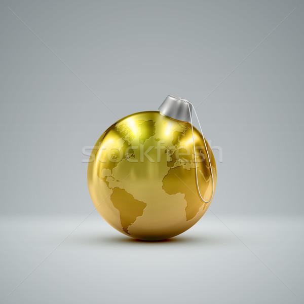 Stock photo: Christmas golden ball. Holiday vector illustration