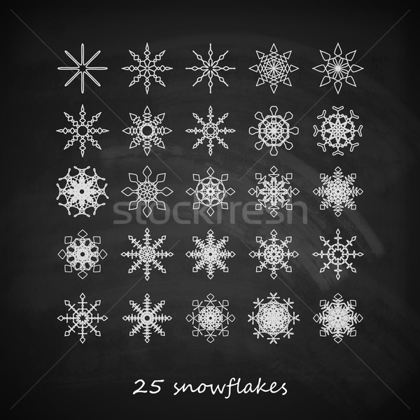 vector set of 25  graceful snowflakes on the blackboard background Stock photo © maximmmmum