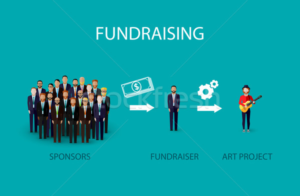 vector flat illustration of an infographic fundraising concept. a group of business men giving money Stock photo © maximmmmum