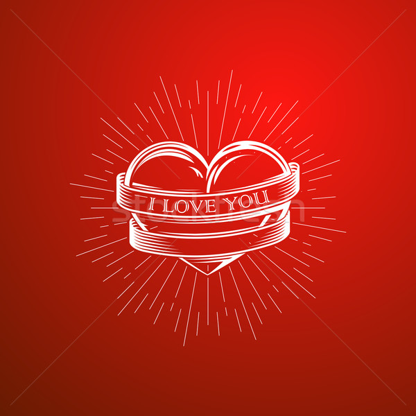 vector illustration with engraving heart,  ribbon and burst light rays. I love you. Happy Valentines Stock photo © maximmmmum