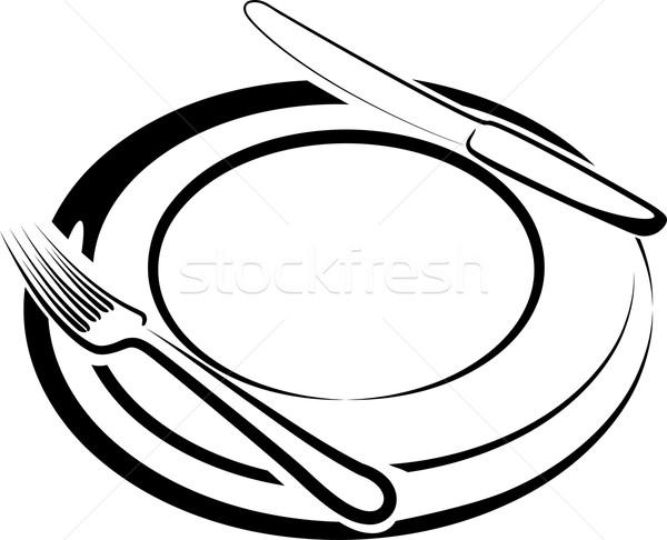 ランチタイム 実例 プレート フォーク ナイフ キッチン ストックフォト © maximmmmum
