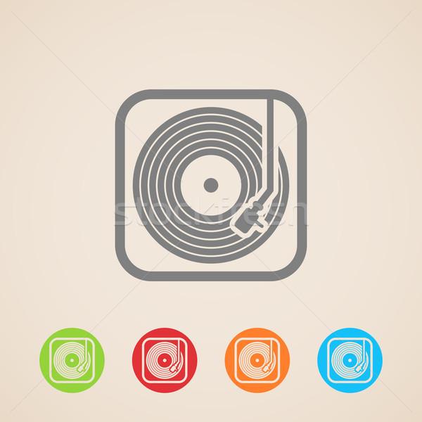 Gramofonu winylu rekord wektora ikona projektu Zdjęcia stock © maximmmmum
