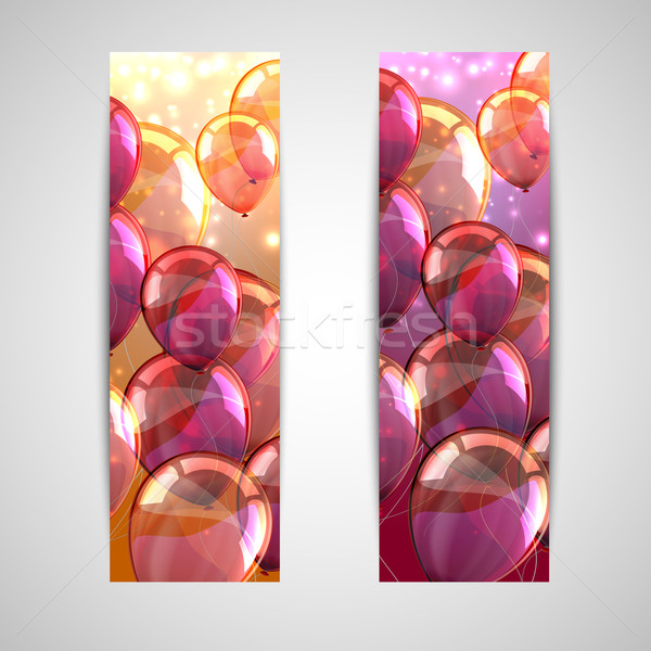 set of holiday banners with multicolored balloons  Stock photo © maximmmmum