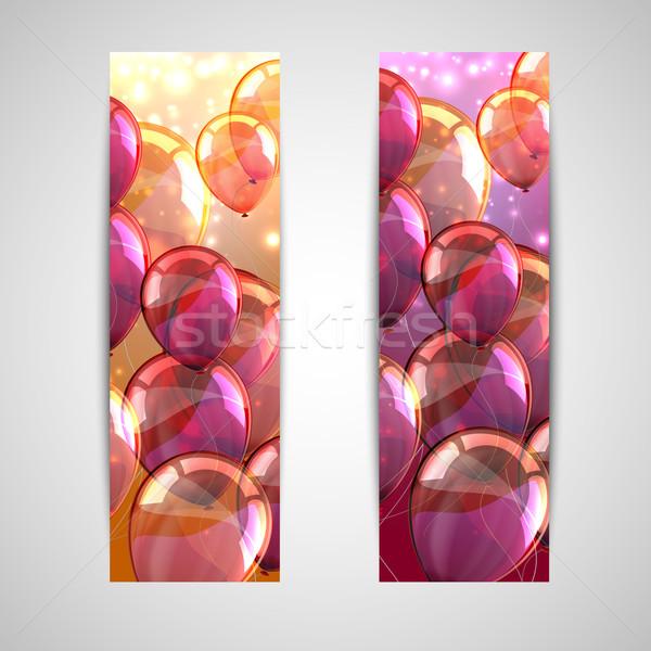 Ingesteld vakantie banners veelkleurig ballonnen gelukkig Stockfoto © maximmmmum