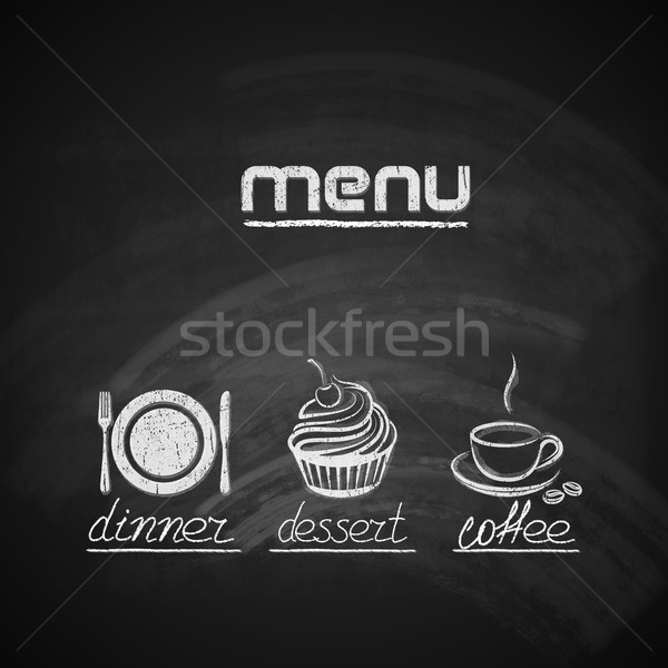 vintage chalkboard menu design with plate, fork and knife, cupcake and coffee cup  Stock photo © maximmmmum