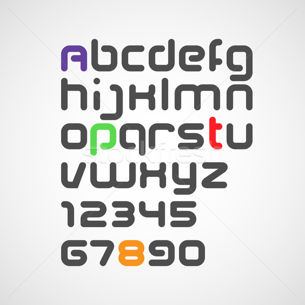 vector latin alphabet letters and numbers with rounded corners Stock photo © maximmmmum